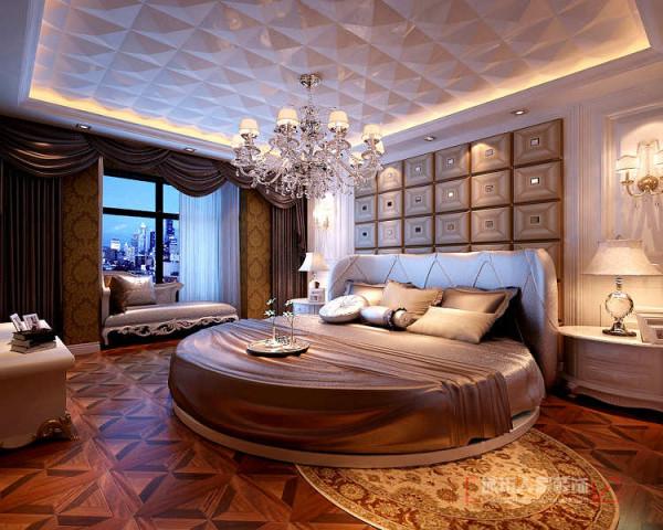 卧室作为休息的港湾,拼花木地板,壁纸整体结合打造出温馨浪漫的休息空间。