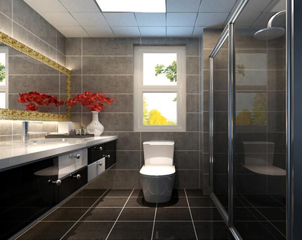 将浅灰色墙砖和浅黑地砖、黑白色浴室柜进行综合搭配,体现卫生间的空间实用性和利用率,地面使用高亮度微晶石防滑地砖体现空间效果。