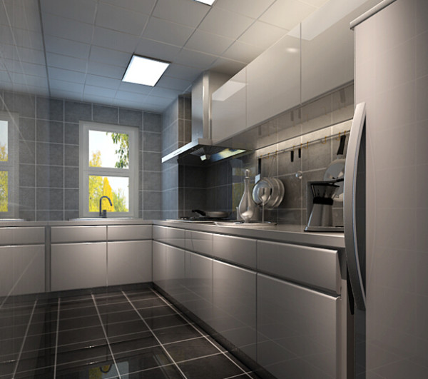 厨房根据空间基本需求,按照正常的格局布局,墙面的灰色瓷砖、白色台面、白色的橱柜柜体,体现出厨房的简洁、明快的效果。
