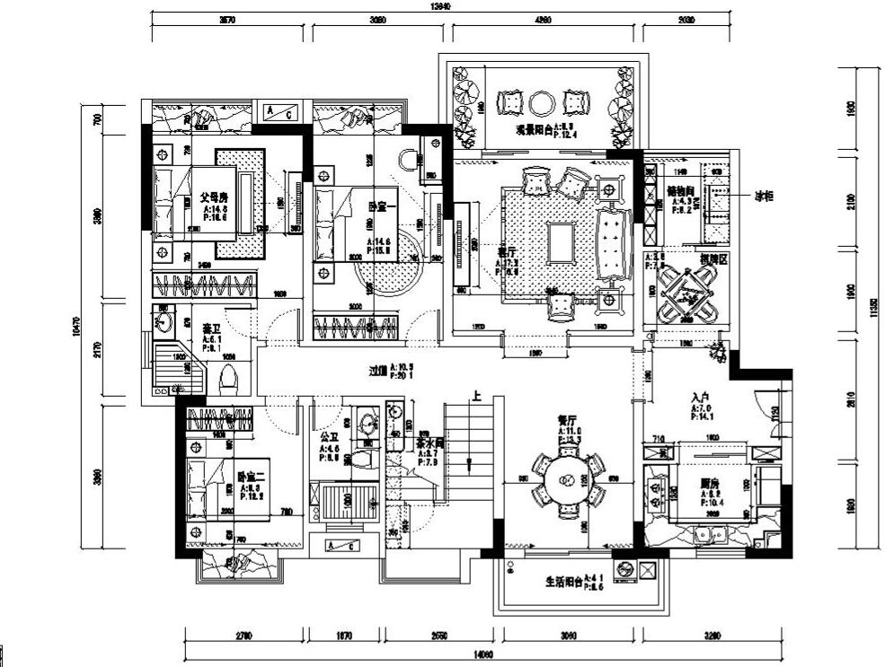 混搭风格混搭复式多功能装饰豪宅设计绿景公馆户型图图片
