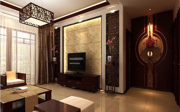 电视背景采用的是镂空木雕与石材相结合的造型,优雅简约大方 。
