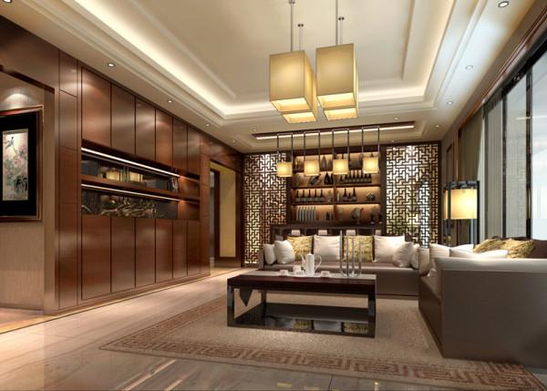 客厅与餐厅以柚木饰面及木格花造型体现格调高雅的风格特点,结合客户自身的需求与习惯,给业主创造一个简约、时尚、舒适的环境。吊顶装饰为简约大气的空间增添了不少光彩,能营造出丰富多彩的室内空间艺术形象,