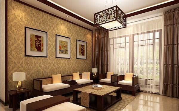 沙发背景墙,简约大方,暖色的花纹壁纸搭配中式元素,给人舒适的感觉。