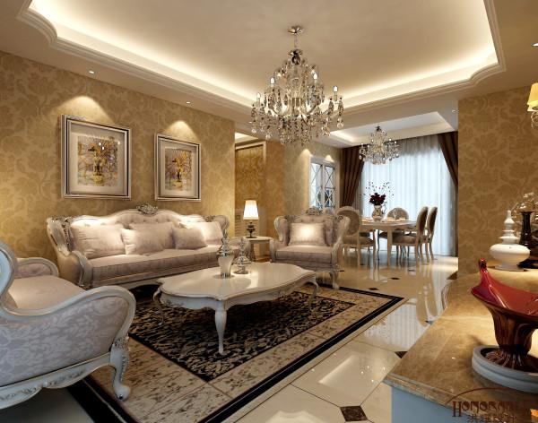欧式的吊灯、墙纸、地毯、拼花,加上暖黄色的格调,显得是那么的舒适和娴雅。在这样的格调下沙发背景墙也只需贴上墙纸和挂上两幅欧式的挂画,无需过多的去渲染。同时这样的做法既能够很好的出效果又经济实惠。
