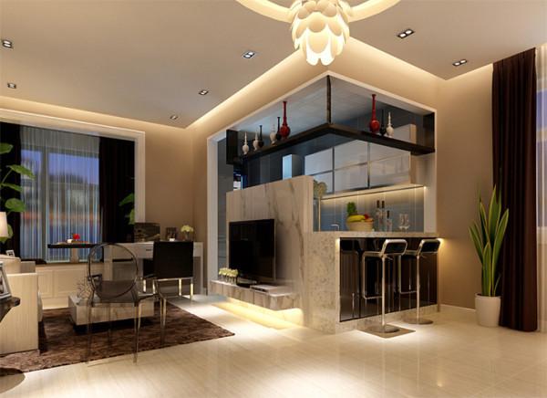 电视背景墙运用简单造型、搭配暖色大理石装饰,体现美观、华丽。