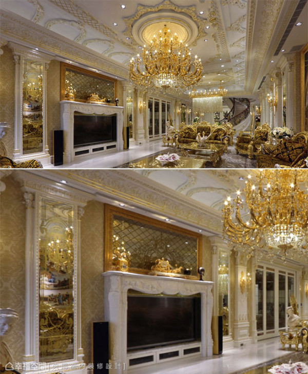 金黄色的壁纸衬底,以壁炉造型规划电视机柜,上方金色的画框镶嵌菱格切割的琥珀色镜面,将水晶灯耀眼的光芒反射的闪闪动人。