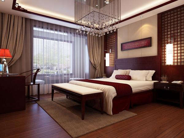 整体卧室以原木色与白色的搭配为主色调,褐色软装的添加给人以安稳的感觉。细节处精致的装饰,结合大吊灯的点缀,中式的家居空间也不乏奢华大气。透明大玻璃设计下的卧室,更加的宽敞舒心。