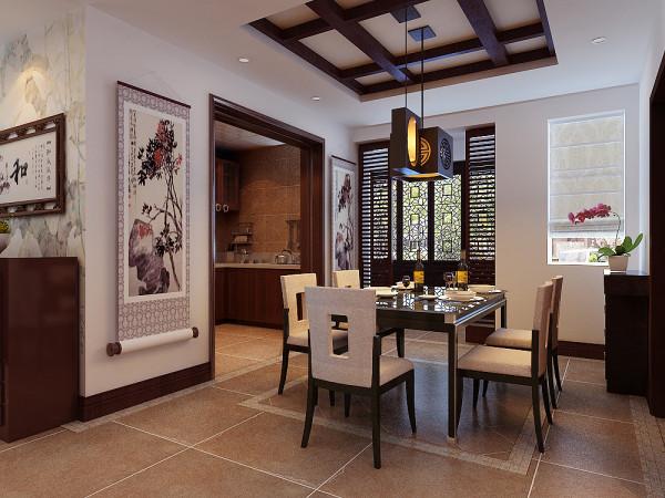 餐厅更注重典雅风格,简洁白色墙壁与中式家具的搭配,形成一种适合现代人的中式餐厅风格。回形纹吊顶和镂空窗格的设计,进一步阐明了中式传统的设计风格特点。插花的装饰,起到了空间提神的作用。