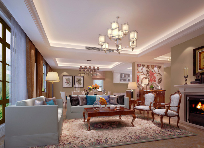 首页 装修效果图 此户型客厅与餐厅共用一个大的空间,设计师利用吊顶图片