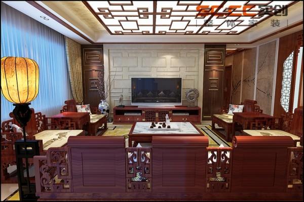 客厅:中式 自然舒适,惬意灵动,沉稳大气整个空间在颜色搭配上,选用了沉稳的咖色和浅黄色来协调,搭配红木家具和色彩鲜艳的配饰来点缀。