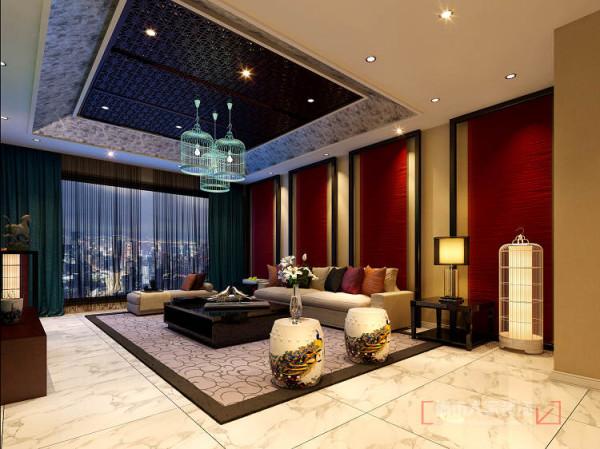 客厅经过精心布置,与电视背景相对的沙发背景墙做了特殊处理,使得客厅更显得生动活泼,更通过突出饰品自身的魅力展示主人的富足和品味。