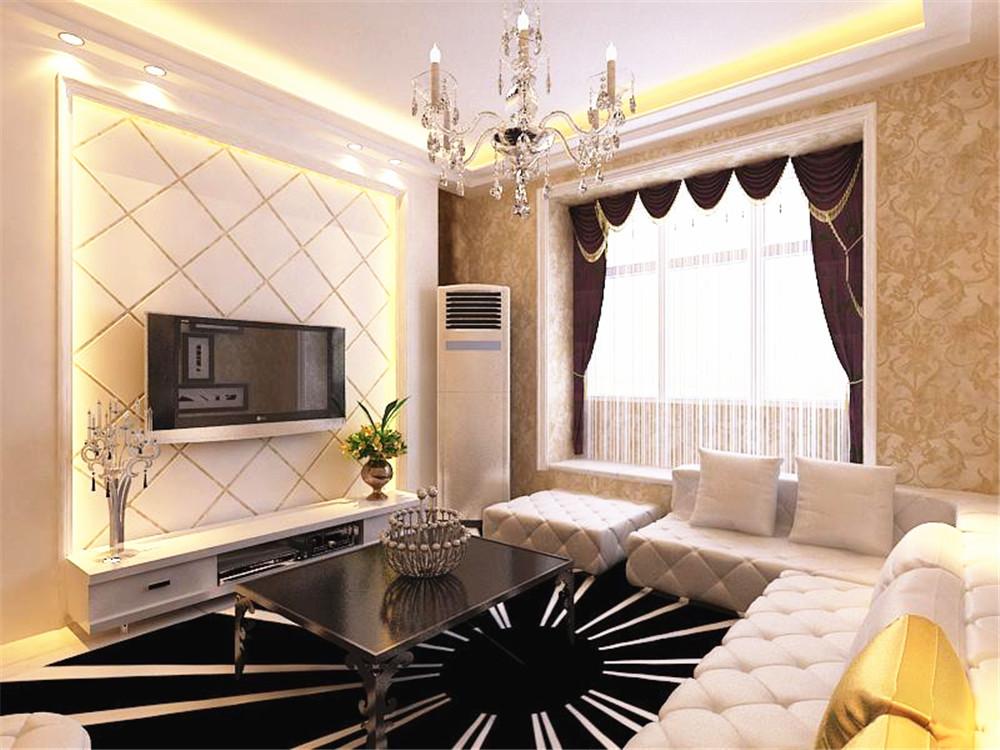 采用简洁的造型,客厅,餐厅,玄关,这三处用了两层石膏线吊顶,影视墙用