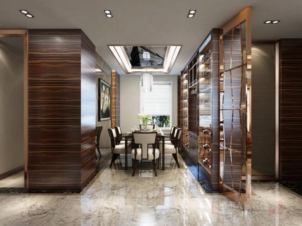 将餐厅酒柜做一定的延伸,这样可以将餐厅变为一个更为规整的空间,门口自然形成一个可以安放楼宇对讲与开关面板的位置,用不锈钢镂空将玄关空间隔断。在玄关东墙整体做鞋柜,入户门紫檀木门套将整个鞋柜包入其中。