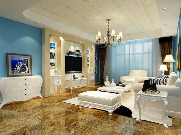 该户型中信公园城一期高层标准层D户型3室2厅2卫1厨 122.00㎡,规矩方正,适于设计。我的设计风格是地中海风格
