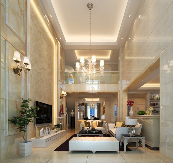 设计理念:挑空客厅的装修设计上一定要配合家居的整体设计,一个好的挑空客厅将会是整个家居中一道亮丽的风景线,为了让挑空客厅看走起来更加的有空间美感,