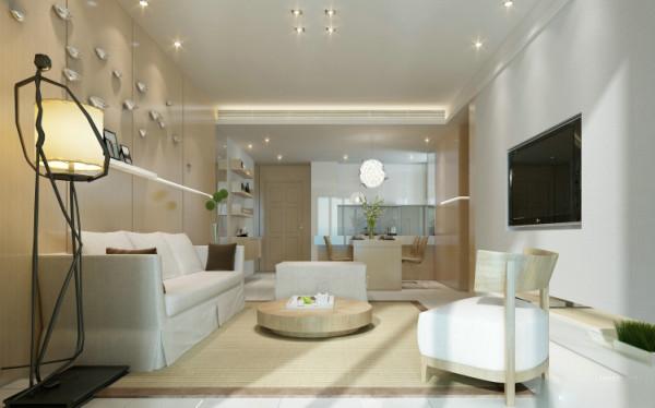 客厅设计: 客厅沙发背景采用大面积原木色饰面板做清水漆,配合亮光飞鸟装饰让整个沙发背景个性十足。整个客餐厅地面用浅色地砖,突显整个家里清爽简洁格调。