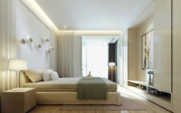 卧室设计: 主卧室牆面特别挑选仿仿麻质感的进口壁纸,配合床头上方的吊灯,赋予起居空间有如酒店的精緻质感。让人身心愉悦,这是自然赋予现代住宅的最好礼物。