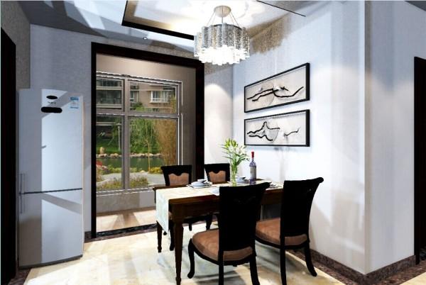 餐厅时尚的吊顶搭配现代的灯具,餐桌旁边两幅中国水墨画点缀,以及青翠的竹子,为室内增加了优雅的气息。