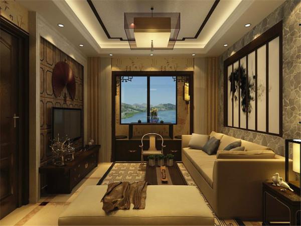 客厅的沙发背景墙有电视背景墙都运用了中式的木材结构和色彩做了非常精妙的造型,沙发茶几等家具也是完美的把代科技与中国元素融为了一体。