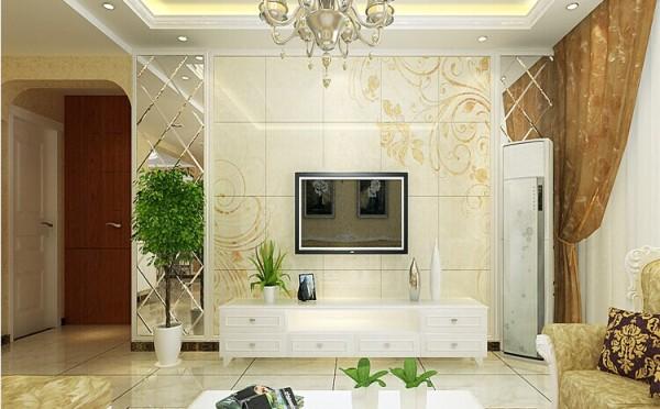 电视背景采用的是菱形车边境与石材相结合的造型,墙面运用了欧式花纹壁纸饰面,显示豪气尊贵的艺术气息。