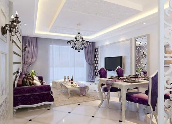 由于客厅的使用面积20平米,考虑到面积的大小加上空间里的造型多,可能会显得客厅狭小。所以方案主体色调以浅色调为主,也符合简约欧式的特点。