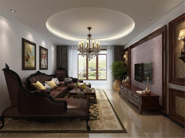 客厅作为待客区域,一般要求简洁明快。顶面采用了圆形吊顶。电视背景墙运用了木线圈边的方式表现出独特的粗狂的特色。家具运用的新古典风格的木质家具,油漆以单一色为主。主要突出的是实用性强的特点。