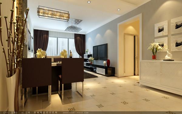 电视背景墙采用石膏板做的四个几何造型,既简单又大方,再加上色彩为金黄色的壁纸(属暖色调),配上顶部照下来的灯光,整个电视背景墙把客厅提升起来。