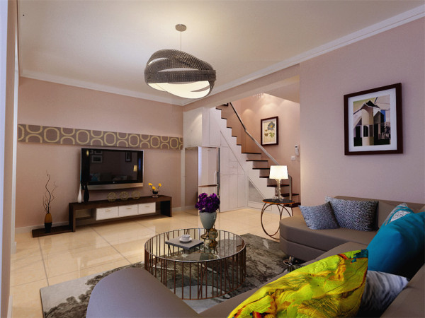 电视背景墙采用了横条石膏板贴壁纸的造型,沙发背景墙则是以漂亮的照片墙挂画加以装饰,圆角的灰色L型沙发,搭配蓝色,黄色的抱枕,色彩丰富,再加上异形的吊灯,简约而不乏时尚感