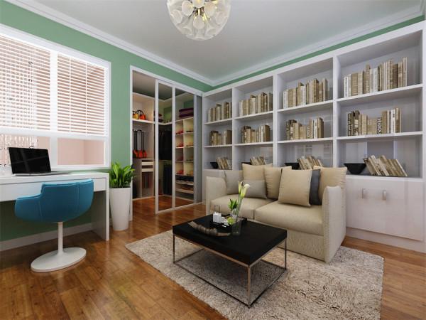 二层楼梯间左侧墙体采用了白色文化砖与方格窗的造型,为整个空间赋予了别样的特色和感觉,书房与衣帽间紧密相连,墙面采用橄榄绿的乳胶漆,顶面为双层石膏板叠级的造型