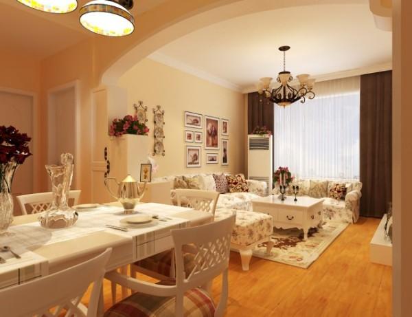 """餐厅达成形式和内容的统一,功能和美感的完美结合。通透的客厅大窗、门洞形装饰,完全契合田园风格中讲究的""""明窗净室"""""""
