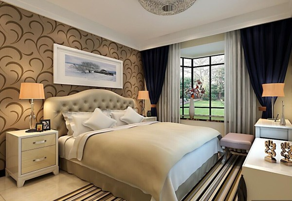 卧室的设计以温馨舒适为主,暖色的搭配,为业主营造了自然舒适的睡眠环境。