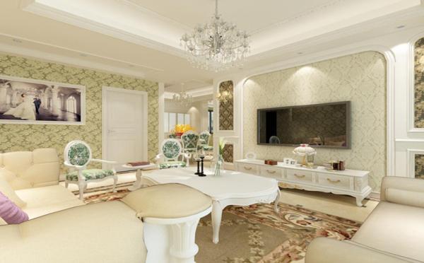 暖色调的墙纸让客厅光线更加柔和,欧式的石膏线条,简约却不简单.
