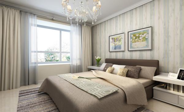 卧室设计: 卧室采用三面乳胶漆,床头背景马赛克的方式来呈现,在材质上显得多元化。卧室的色彩延续了客厅的温馨的同时,加入了一点田园的感觉。