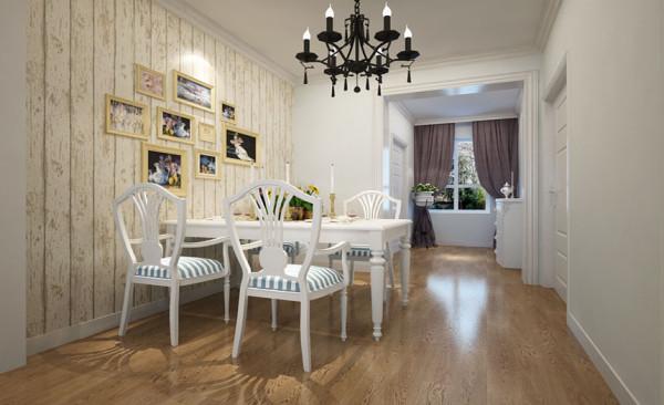餐厅的空间讲究对称且划分简单合理,给了主人们更充裕的自由活动空间,简单的照片墙使整个餐厅空间氛围更加愉悦。与客厅相互呼应的白色地板同样用到了这个空间,没有过多的装饰,简单大方,也使整个空间和谐统一。