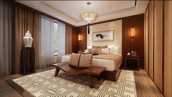 卧室以中式风格为主,以简洁明快的实木线条勾勒出简洁大方的空间感。以洁白干净的暖白色为主色调突出温馨而不失奢华的气质。