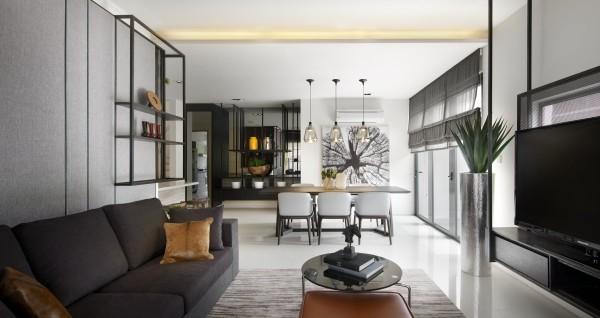 客厅的设计简单、大方,利用了黑白的对比颜色,让整个空间的层次分明。
