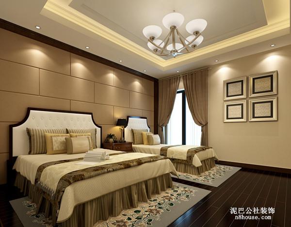 暖色调的卧室背景墙,两张舒适的豪华大床,墙上相片框可存放全家福,幸福升温