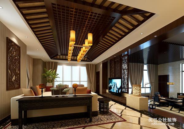 垭口的设计,划分客厅和餐厅的两块区域,长方形网格子吊顶,能增强客厅亮度