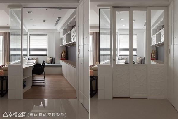 三等分迭的门片可完整收纳进侧墙线条内,立体描绘其上的树枝纹理呼应书柜设计,呈现空间规画的一致性。