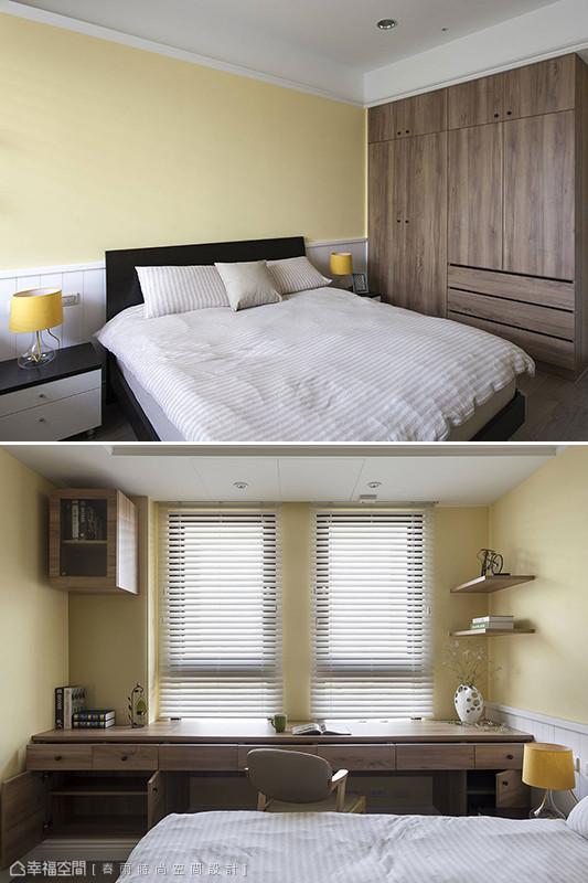 鹅黄色与木作系统的搭配,打造微带乡村温暖的男孩房。