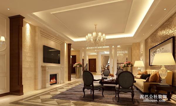 暖黄色的背景墙能带给人温馨的感觉,花丝吊灯展示的是欧式风格精湛的雕刻工艺