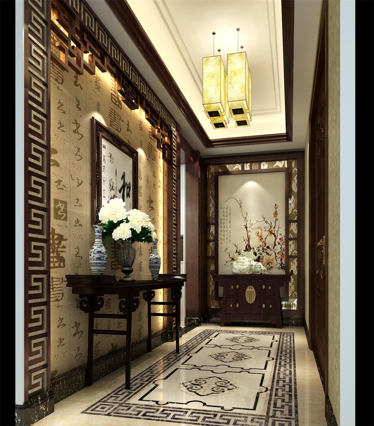 四居室 中式风格 豪宅装修 60后 玄关图片来自名雕装饰设计在中式典雅豪宅装修的分享