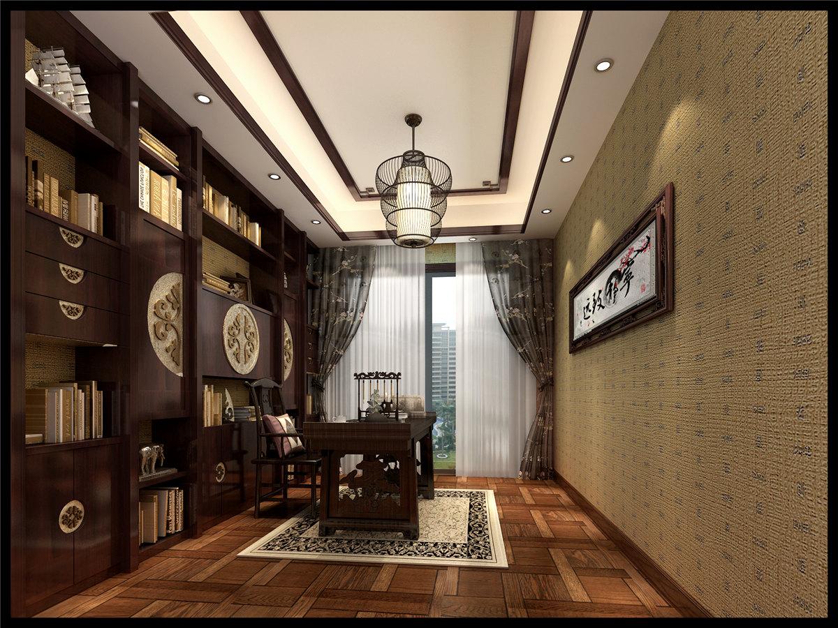 四居室 中式风格 豪宅装修 60后 书房图片来自名雕装饰设计在中式典雅豪宅装修的分享