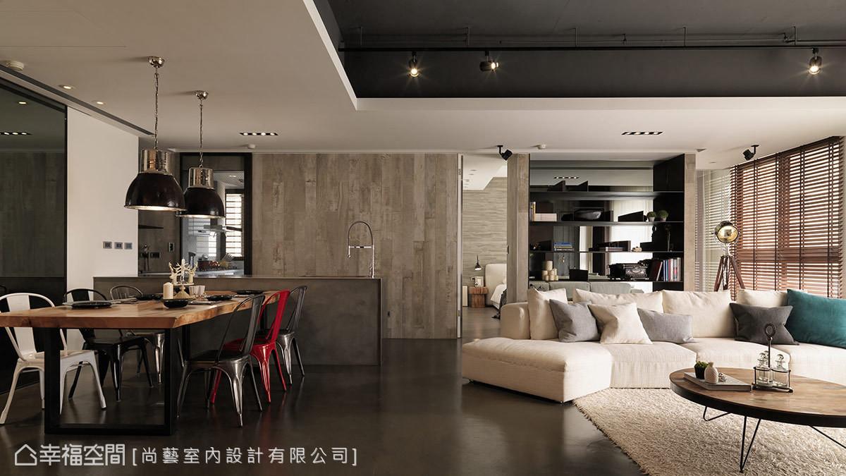 天花板以工业风最具有代表性的外露管线及深色表现,地坪以盘多魔材质图片