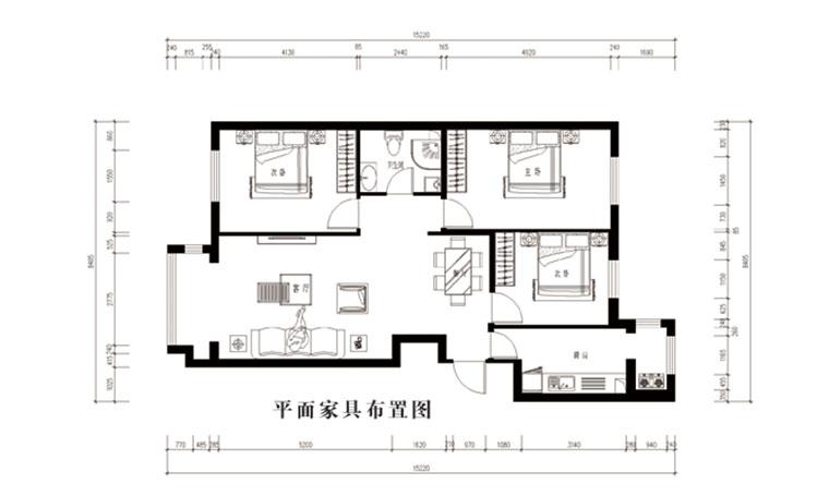 简约 三居 户型图图片来自郑州实创装饰-杨淑平在正商新蓝钻127平时尚简约设计图的分享