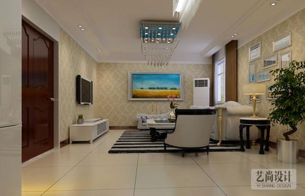 升龙城三室两厅样板间装修案例——再换个角度,客厅整体空间以突出简欧自然而又不失高雅,不算豪华,略带小资,看起来更加温馨舒适