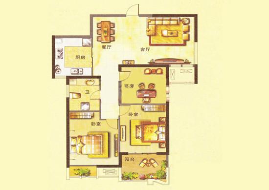 升龙城89平方三室两厅户型图,艺尚装饰设计师作品。