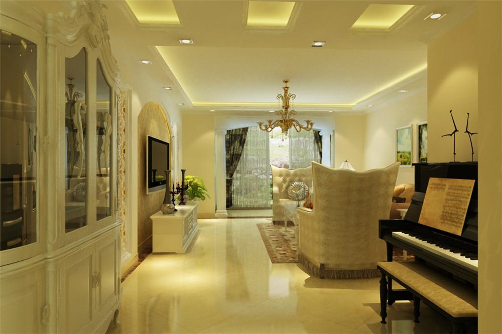 客厅旁正好布置下钢琴,顶面的直线造型,电视墙采用时下最流行的欧式