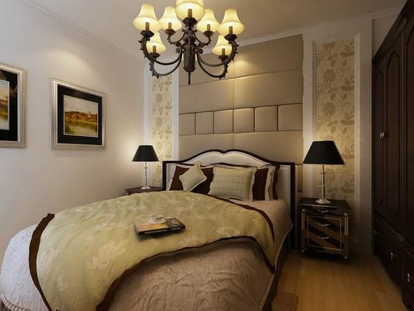 卧室:主要是以欧式白色石膏板,欧式壁纸和软包为床头背景墙,嵌入式的图片