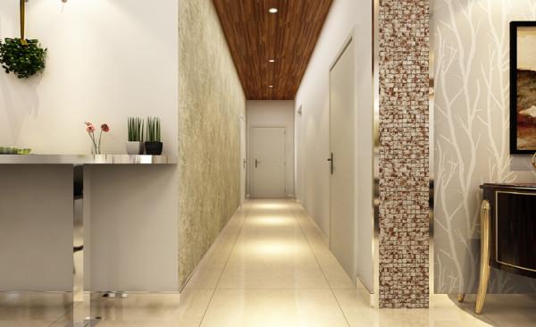 过道设计: 过道很长,单一的白色会略显单调,顶部采用地板作为装饰,从视觉上富有层次。顶部的地板和墙面的单面壁纸,赋予整个过道空间生气和活力
